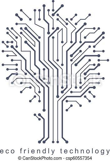 branches., creato, eco, linee, concept., wireframe, albero, illustrazione, vettore, collegato, tecnologia, amichevole - csp60557354