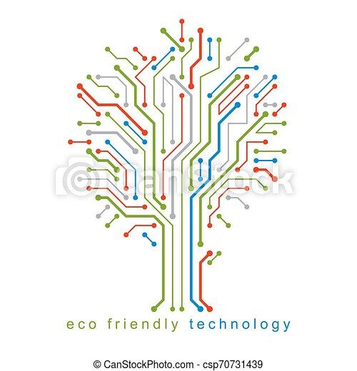 branches., creato, eco, linee, concept., wireframe, albero, illustrazione, vettore, collegato, tecnologia, amichevole - csp70731439