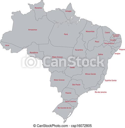 brasile, mappa, grigio - csp16072805