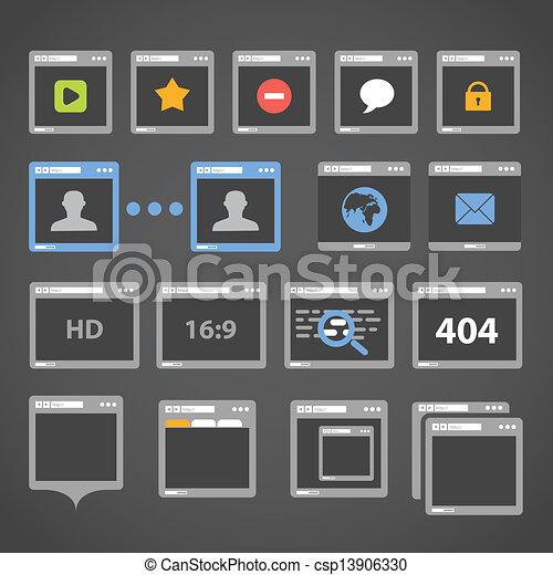 browser web, collezione, icone - csp13906330