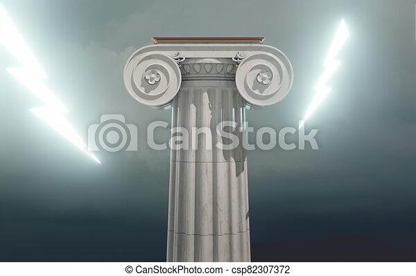 bulloni, illuminazione, colonna, greco, antico, 3d, render - csp82307372