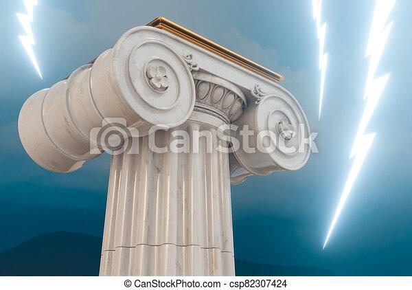 bulloni, illuminazione, colonna, greco, 3d, render - csp82307424
