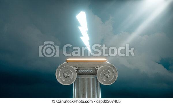 bulloni, illuminazione, colonna, greco, antico, 3d, render - csp82307405