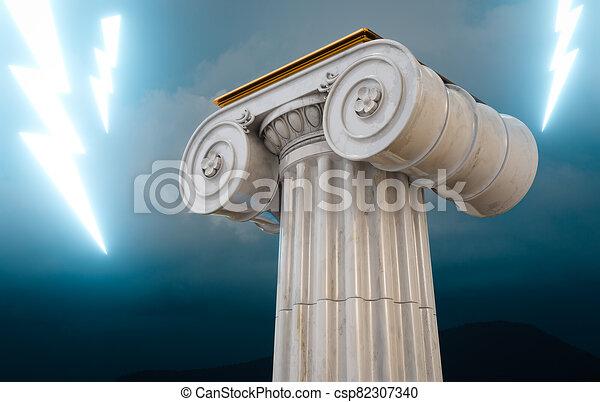 bulloni, illuminazione, greco, colonna, 3d, render - csp82307340