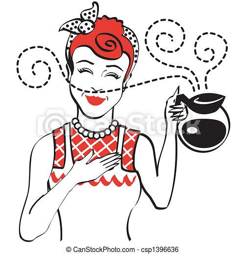 caffè, 1950s, vendemmia, vaso, retro, mamma - csp1396636