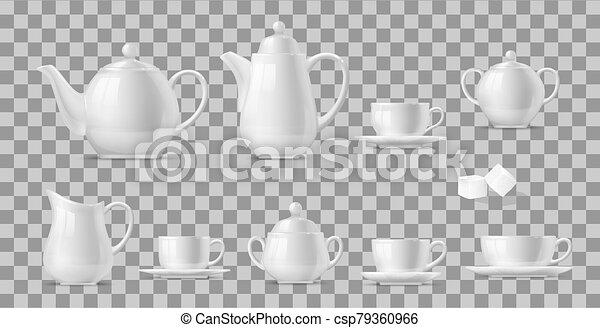 caffè tè, campanelle, set, realistico, otri - csp79360966