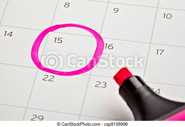 calendario, importante, marcato, anno - csp9158996