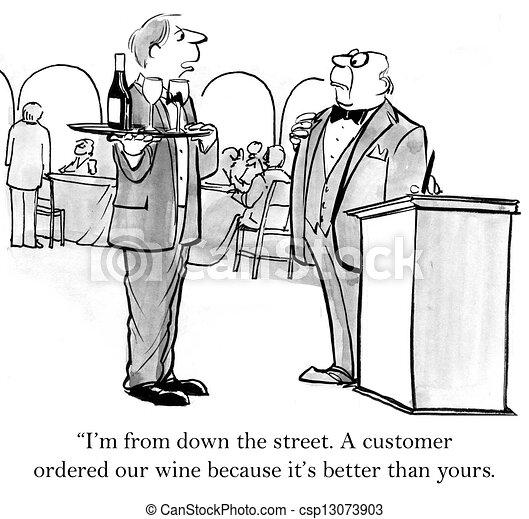 cameriere, porta, strada, giù, vino - csp13073903