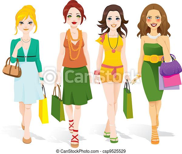 camminare, moda, ragazze - csp9525529
