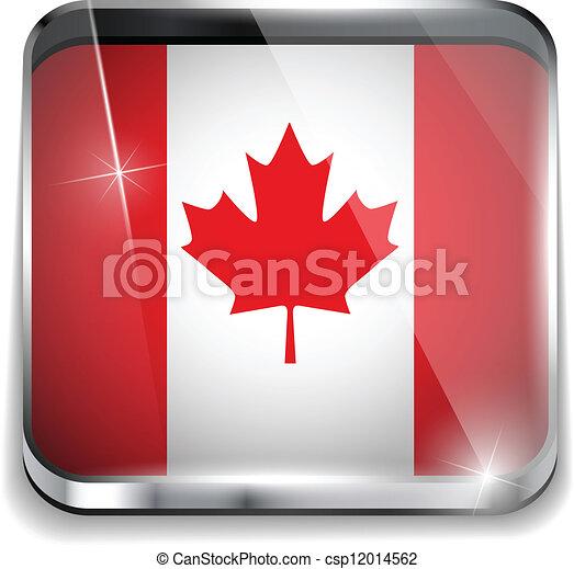 canada, smartphone, bottoni, domanda, bandiera, quadrato - csp12014562