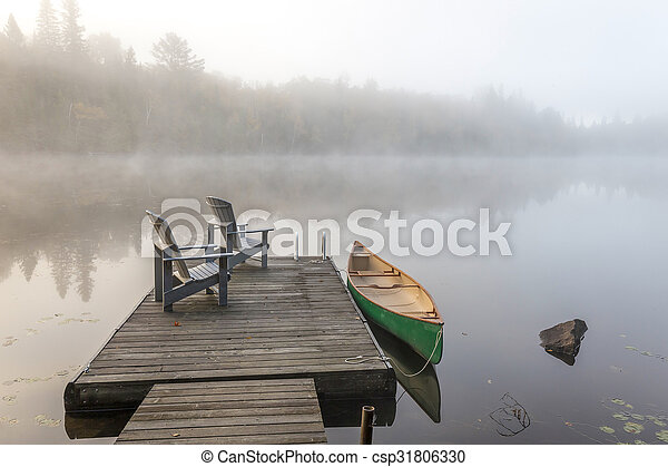 canoa, bacino, nebbioso, mattina, verde - csp31806330