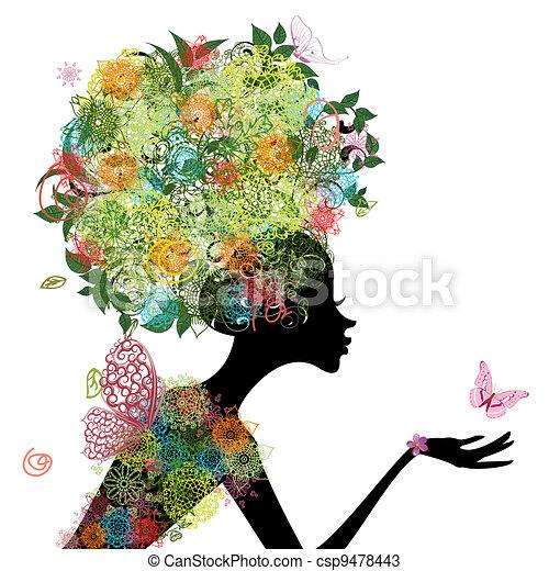 capelli, ragazza, moda, arabesco - csp9478443