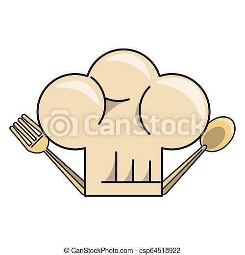 cappello chef, cartone animato - csp64518922