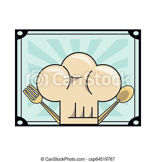 cappello chef, cartone animato - csp64519767