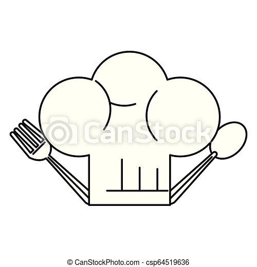 cappello chef, cartone animato - csp64519636