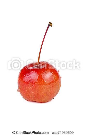 caramello, mano, granchio, tuffato, mela - csp74959609