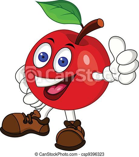 carattere, mela, rosso, cartone animato - csp9396323