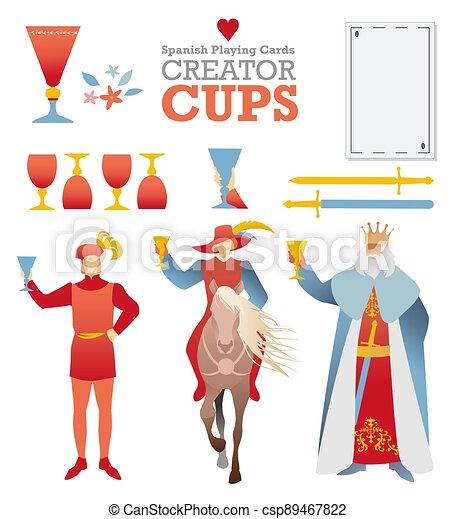 caratteri, ponte, simboli, costruire, gioco, creatore, cups., schede., cartelle, spagnolo - csp89467822