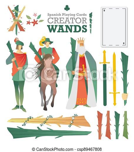 caratteri, wands., ponte, simboli, costruire, gioco, creatore, schede., cartelle, spagnolo - csp89467808