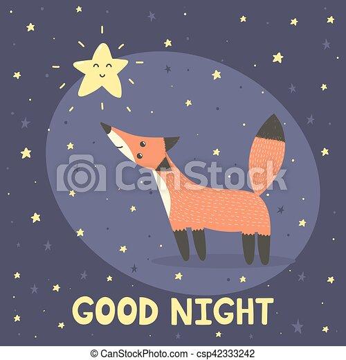 carino, buono, stella, volpe, notte, scheda - csp42333242