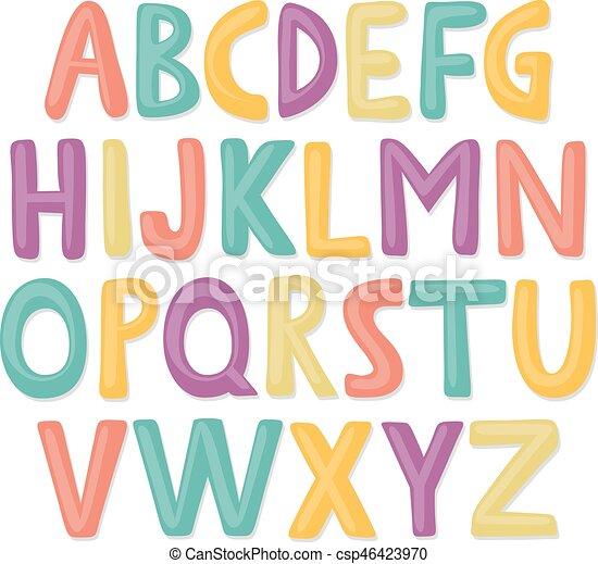 carino, mano, disegnato, felice, alfabeto - csp46423970