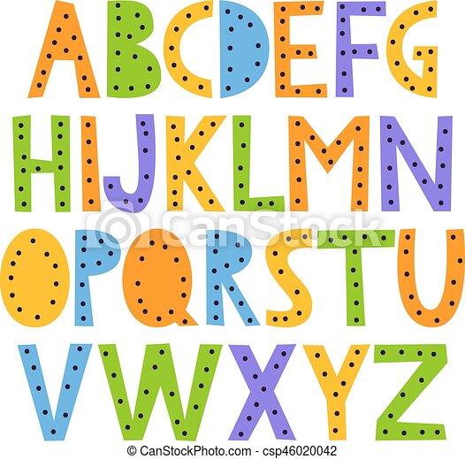 carino, mano, disegnato, felice, alfabeto - csp46020042