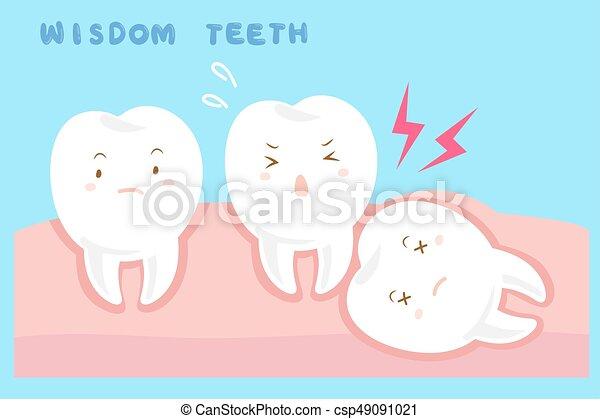 carino, saggezza, cartone animato, denti - csp49091021