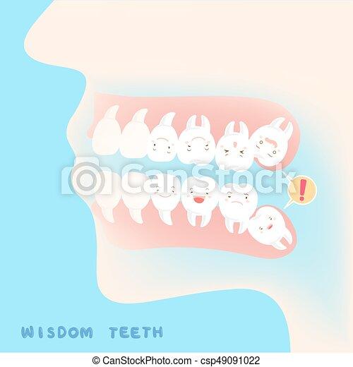 carino, saggezza, cartone animato, denti - csp49091022