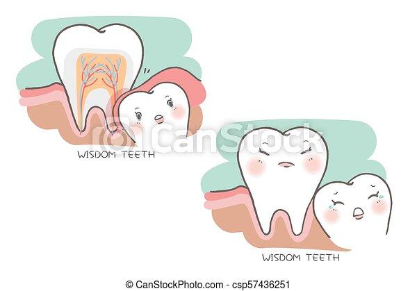 carino, saggezza, cartone animato, denti - csp57436251