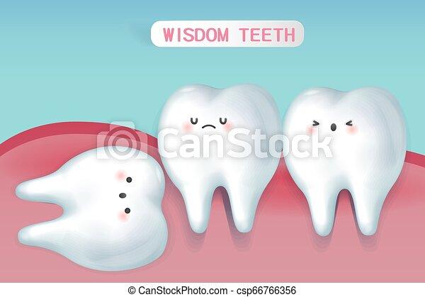 carino, saggezza, cartone animato, denti - csp66766356