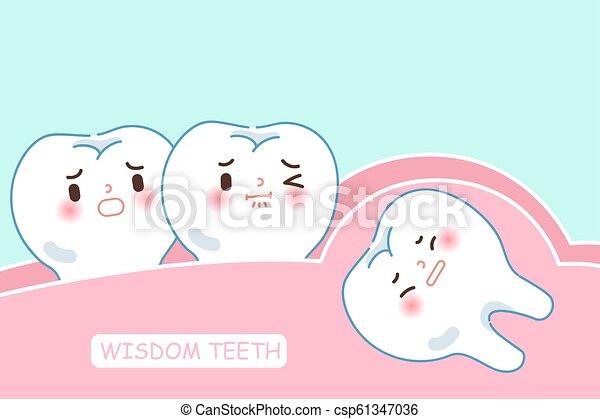 carino, saggezza, cartone animato, denti - csp61347036
