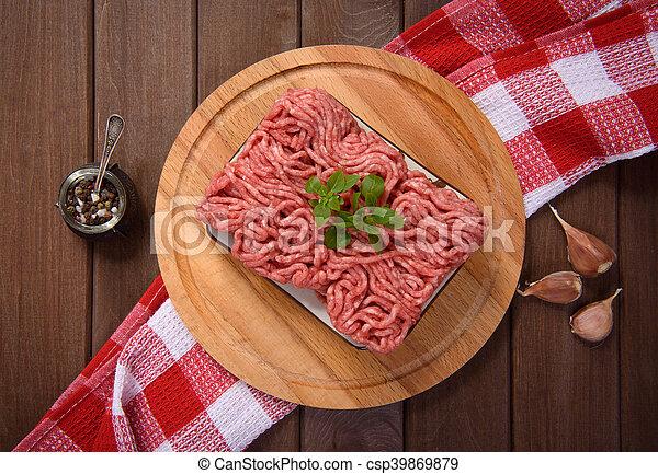carne, cima, tagliere, tritato, vista - csp39869879