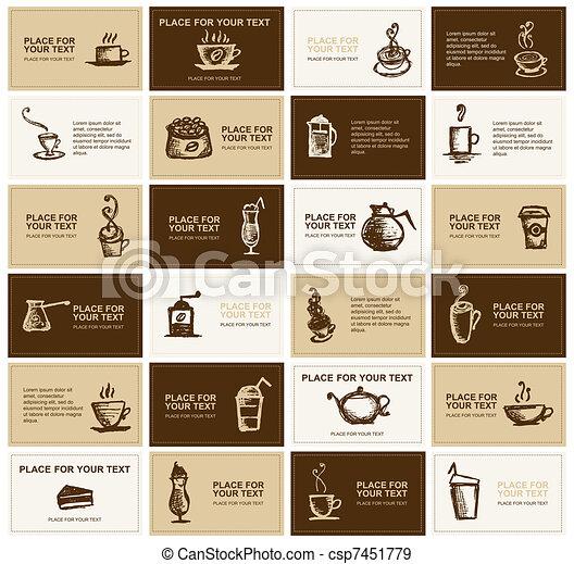 cartelle, caffè, disegno, ditta, affari - csp7451779