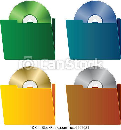 cartelle, vettore, cd - csp8695021