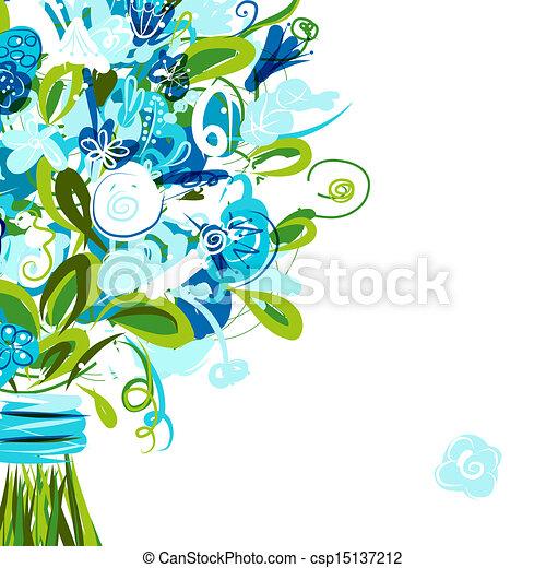 cartolina, testo, posto, tuo, floreale - csp15137212