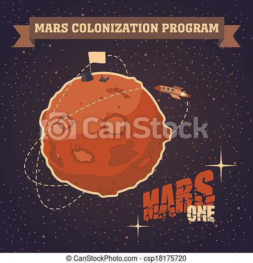 cartolina, vendemmia, marte, progetto, colonizzazione - csp18175720
