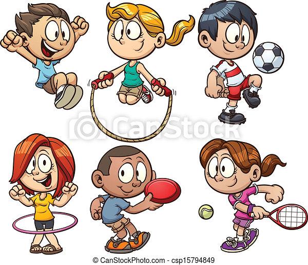 cartone animato, bambini, gioco - csp15794849