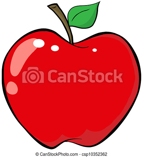 cartone animato, mela rossa - csp10352362
