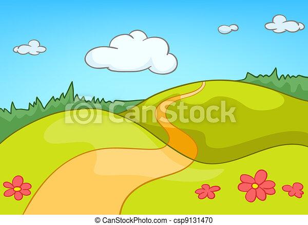 cartone animato, paesaggio, natura - csp9131470