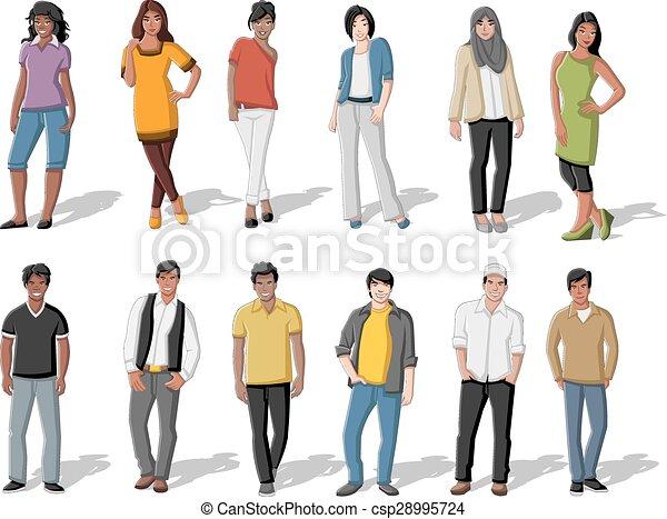 cartone animato, persone, giovane - csp28995724