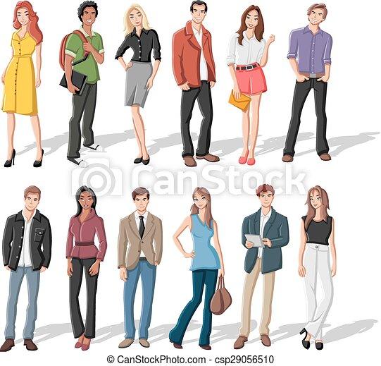 cartone animato, persone, giovane - csp29056510