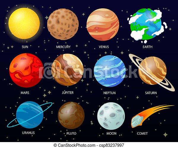 cartone animato, solare, pianeti, sistema - csp83237997