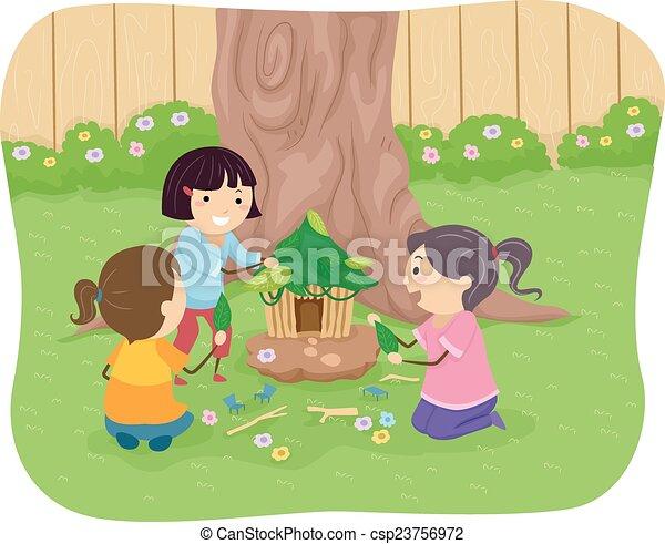 casa, fata, bambini, stickman - csp23756972