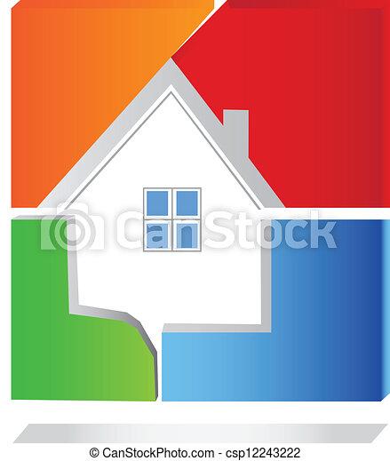 casa, vettore, quadrato, logotipo - csp12243222