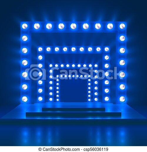 casinò, teatro, mostra, ballo, luce, decoration., podio, vettore, fondo, baluginante, palcoscenico - csp56036119