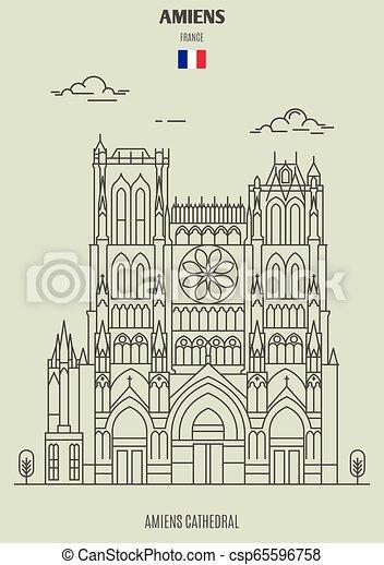 cattedrale, amiens, icona, punto di riferimento, france., amiens - csp65596758