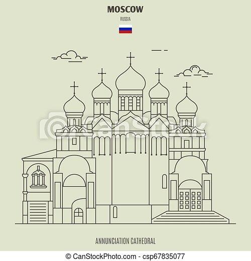 cattedrale, annunciazione, punto di riferimento, russia., icona, mosca - csp67835077