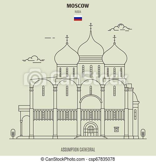 cattedrale, assunzione, punto di riferimento, russia., icona, mosca - csp67835078