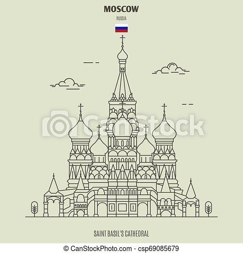 cattedrale, punto di riferimento, russia., santo, icona, mosca, basil's - csp69085679
