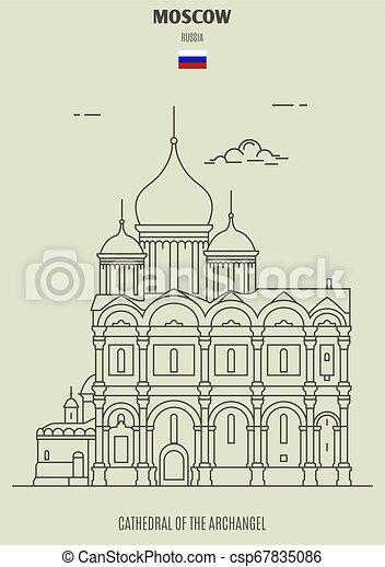 cattedrale, punto di riferimento, arcangelo, russia., icona, mosca - csp67835086